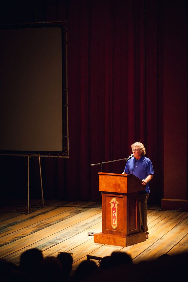 "Dr. Tom Vendetti addresses audience about his film preview of ""The Tibetan Illusion Destroyer"""