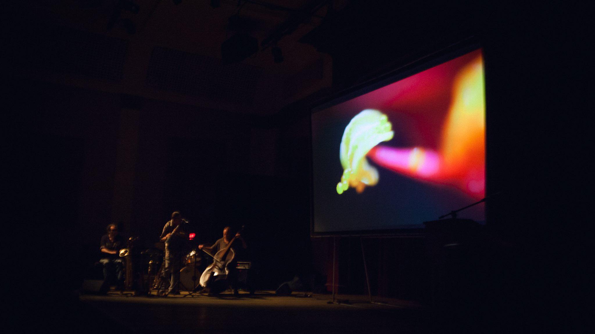 "MJQ improvises to Gary Greenberg/Peter Swanzy 3D film, ""Studies in Microscopy""."