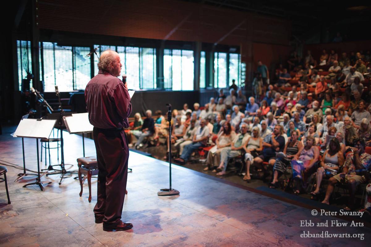 Robert Pollock addresses audience, 7:19:15:Seabury Hall