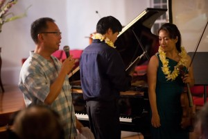 Brian introduces DUO DIORAMA at our July 13. 2013 oncert at Keawala'i Congregational Church, Makena.